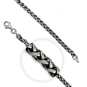 Mens Oxidised Sterling Silver Detailed Wheat Weave Chain Necklace - 51CM
