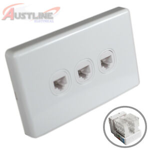 3Gang Network Cat6 Wall Plate Clipsal Style 3Port RJ45 LAN Jack +C-Clip Aw3C90