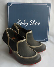 New Ruby Shoo Amanda Brow Ladies Pull on High Heel Ankle Boots Shoes Box Size 4