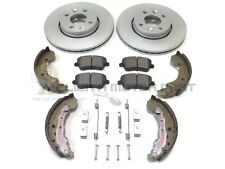RENAULT CLIO MK3 FRONT 2 BRAKE DISCS AND PADS & REAR SHOES AND SHOES FITTING KIT
