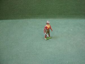Vintage John Hill & Co Hollow Cast Lead Cowgirl with Moving Whip Arm Johillco