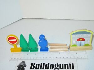 First Learning Super Wooden Train Set Lot of Assorted Parts Only Tree Sign Build