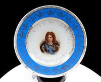 "VICTORIA AUSTRIA CARLSBAD  PHILIPPE D ORLEANS BLUE & GILT 8 3/8"" PLATE"