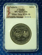 CANADA 1974 Nickel Dollar, Double Die, West Yoke, VCR-16 in slab holder #105