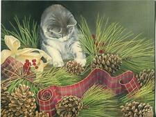 1 CHRISTMAS KITTEN CAT PINE CONES HOLLY CARD 1 COVERED BRIDGE DUCKS POND PRINT