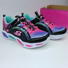 Skechers Girls Sneaker Shoe S Lights Shimmer Beams Light Up Black/Pink/Purple
