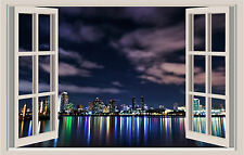 San Diego California Night Lights Window Color Wall Sticker Mural 36x24