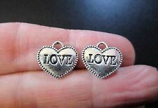 Pack of 10 Tibetan Silver Double Sided 'LOVE' Heart Charm Valentine 13mm x 12mm