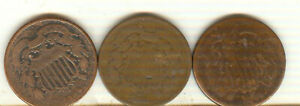 lot of three  circulated 2 cent pieces  two 1864 and 1 1866 in nice shape