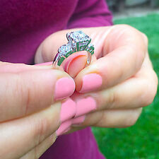 and Diamond Engagement Ring 0.75ctw Amazing 14k White Gold Round Moissanite