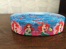 "1m Ariel The Little Mermaid Character Printed Grosgrain Ribbon, 7/8"" 22mm"