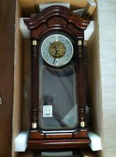 Seiko Wall Pendulum Clock Dark Brown Solid Oak Case with Hand-Rubbed Finish