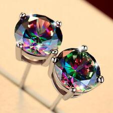 0adee1d4d 925 Silver Cut Mystic Rainbow Topaz Cubic Zirconia Stud Round Square  Earrings UK