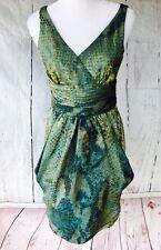 Lafayette 148 New York SZ 2 Sleeveless Green Teal  Elegant Dress Bubble Hem $489