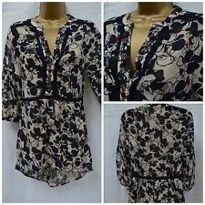 NEW MARKS & SPENCER M&S TOP KAFTAN TUNIC BLOUSE NAVY NUDE FLORAL CHIFFON 8 - 20