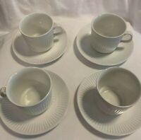 "Set of 4 Johnson Brothers Athena Cup Saucer Tea Coffee ENGLAND Flat Cup 2 3/4"""