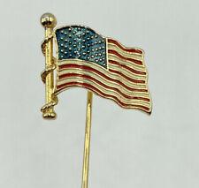 New listing Vtg Gold Tone Enamel American Usa Flag Patriotic Lapel Stick Pin Red White Blue