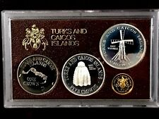 1977 Turks and Caicos Islands  4pc Gold/Silver/Copper-Nickel Proof Set w/Box COA