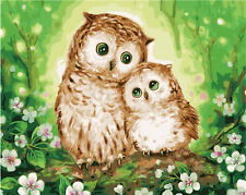 "New DIY Paint By Number 16*20"" kit Oil Painting On Canvas Friendly Owl 1517"