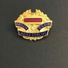 New listing VINTAGE CURLING PIN ORILLIA LADIES CURLING CLUB (Birks written on back)
