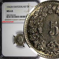 SWITZERLAND Copper-Nickel 1942 B 5 Rappen NGC MS63 HELVETICA KM# 26 (043)