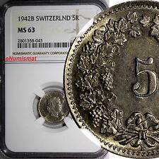 SWITZERLAND Copper-Nickel 1942 B 5 Rappen NGC MS63 HELVETICA KM# 26