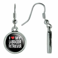 Novelty Dangling Drop Charm Earrings I Love My Dog K-P