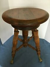 Antique Lyon & Healy Chicago Piano Stool With Glass Ball Feet