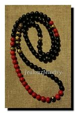Lucky Dragon Black Red Gold 10mm Healing Gemstone Beaded Mens Yoga Necklace