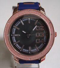Men's Hip Hop Rose Gold/Blue Silicon Band Black Dial Fashion Dressy Wrist Watch