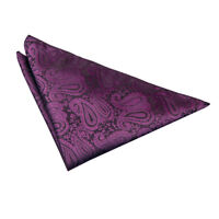 Pocket Square Hanky Woven Floral Paisley Purple Mens Accessories by DQT