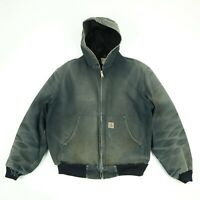 Destroyed Carhartt Hooded Jacket Coat Sun Faded Honeycomb Black Distress Grunge
