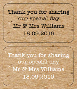 Personalised Wedding Labels Stickers Kraft Brown Effect Favours Shabby (Ref:110)
