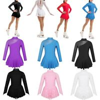 Kids Girls Ballet Dance Leotards Dress Lace Figure Ice Skating Costume Dancewear