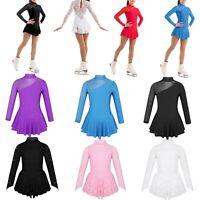 Kids Girls Ballet Dance Leotards Dress Lace Figure Ice Skating Costume Dancewear
