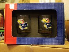 Kansas Jayhawks 2 Glass Set w/Pewter Logo NEW IN BOX!