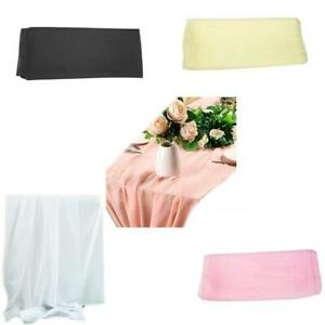 Chiffon Table Runner Overlay Sheer Solid Rustic Tablecloth Cover Wedding Decor