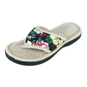 Neuf Isotoner Femmes Petunia Floral Jersey String Glissière Chausson