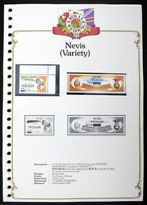 NEVIS 1981 Royal Wedding Colour Overprint Varieties on 5 Pages DF369