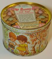 Vintage 1962 MRS LELAND CANDY EASTER BUNNY EGGS BOY GIRL GRAPHIC KEYWIND TIN CAN