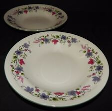 2 Totally Today Soup Bowls 422808 Blue Red Flower Trim TTOTTO30 Green Rim
