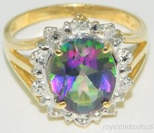 Mystic Topaz & Diamond Ring 14K Yellow Gold