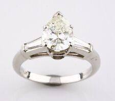 Platinum 1.80 carat Pear Shape Diamond Engagement Ring w/ Accent Stones Size 5.5