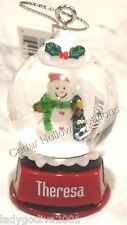 Personalized Snow Globe Ornament - Theresa - FREE Shipping