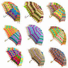2Pcs Decorative Indian Hand Embroidered Parasol Vintage Sun Shade Umbrella