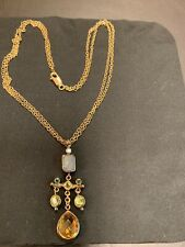 Lazaro-SOHO-18K necklace with Citrine/Chalcedony/Peridot/Emerald. Double chain.