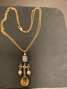 Lazaro-SOHO-18K necklace with Citrine/Chalcedony/Peridot/Emerald. Double chain.