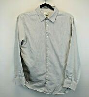 Banana Republic L/S Men's X-Large Slim Fit Button Up Shirt Gray/White Stripes