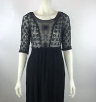 FREE PEOPLE Black Lace Sheer Crochet Rayon Hi Low Goth Steampunk Dress Sz 6 S