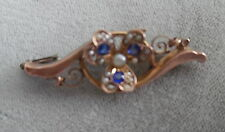 VICTORIAN 9 CT GOLD BROOCH W, SAPPHIRES & SEED PEARLS